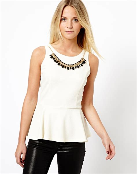Collar Checker Top lyst asos new look peplum top with gold necklace in