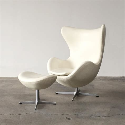white chair and ottoman fritz hansen white leather egg chair and ottoman los