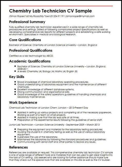 Chemistry Resume by Chemistry Lab Technician Cv Sle Myperfectcv
