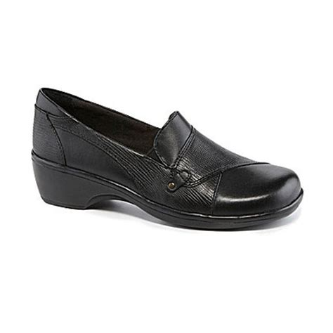 clarks may phlox womens black leather comfort slip on