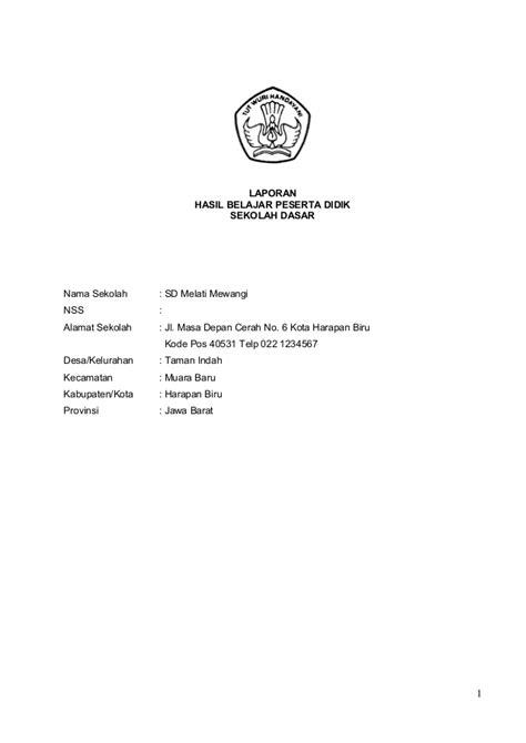 format buku tabungan sd format buku raport sd kurikulum 2013 beserta contoh isinya