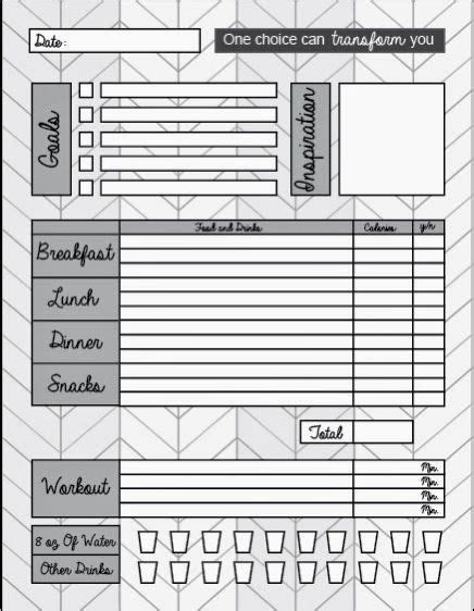 printable food diary to monitor what you eat