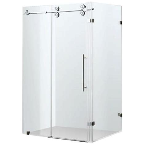 Home Depot Shower Enclosures by Vigo 34 In X 73 In Frameless Bypass Shower Enclosure In Stainless Steel With Clear Glass