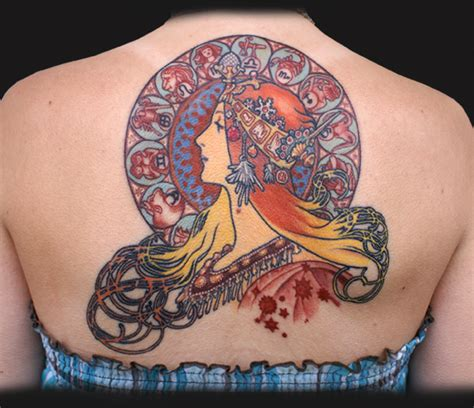 alphonse mucha tattoo jeff johnson tattoos color mucha zodiac