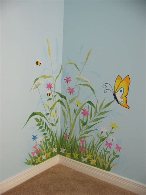 Horse Wall Mural flower and bug themes mural magic