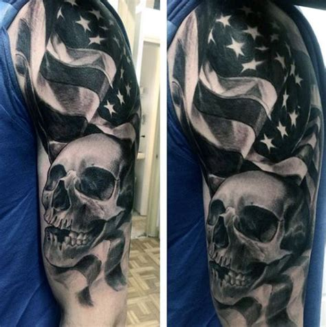 patriotic half sleeve tattoo designs half sleeve black american flag and skull tattoos for