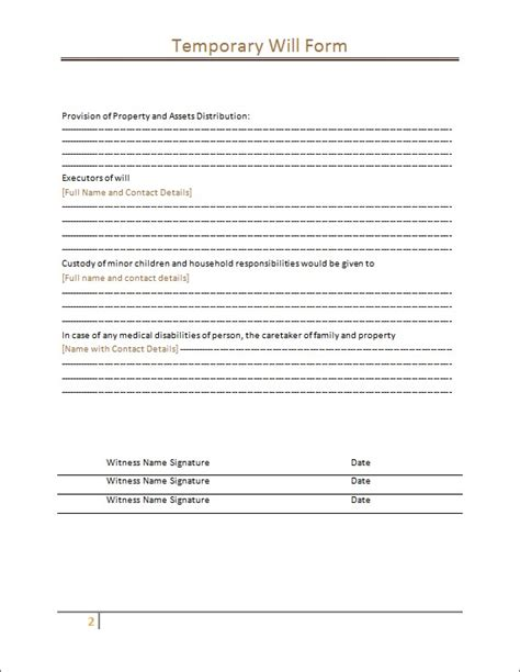 temporary will template temporary will from sle template microsoft word