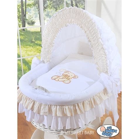 Wicker Crib Cradle Moses Basket Teddy White Wicker Cribs Baby Moses Cribs