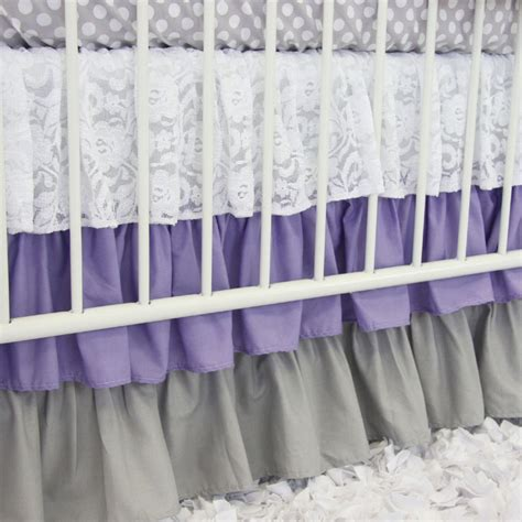 lavender nursery bedding sweet lavender lace damask crib bedding set by caden lane