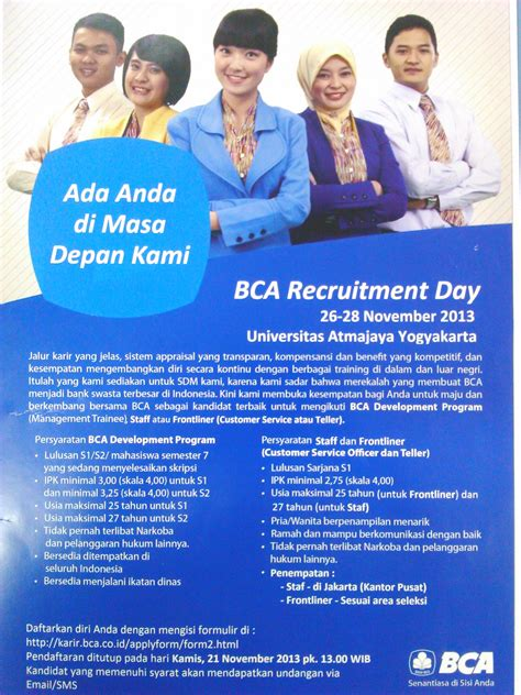 bca recruitment bca recruitment day lowongan