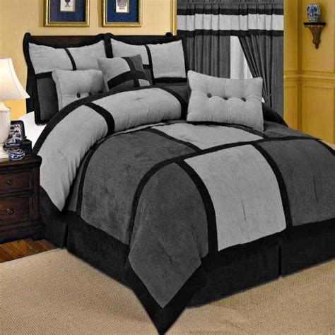 suede bedding 7pc new comforter set patchwork micro suede 5 colors ebay