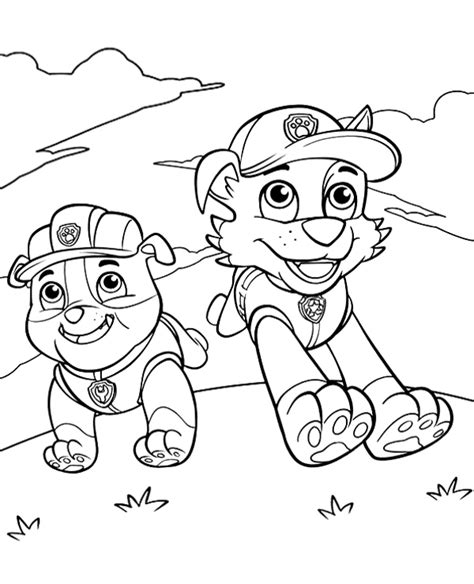 paw patrol spring coloring pages rubble and rocky coloring page