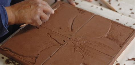How To Make Handmade Ceramic Tiles - how to do additive relief sculpting on a ceramic tile