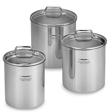 Bed Bath And Beyond Canisters by All Clad Food Canisters Set Of 3 Bed Bath Beyond