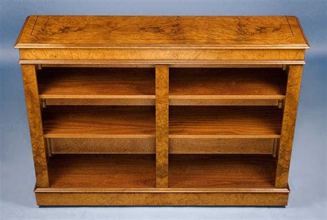 antique style walnut double open bookcase for sale