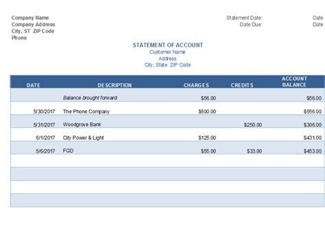 Statement Of Account Statement Of Account Template