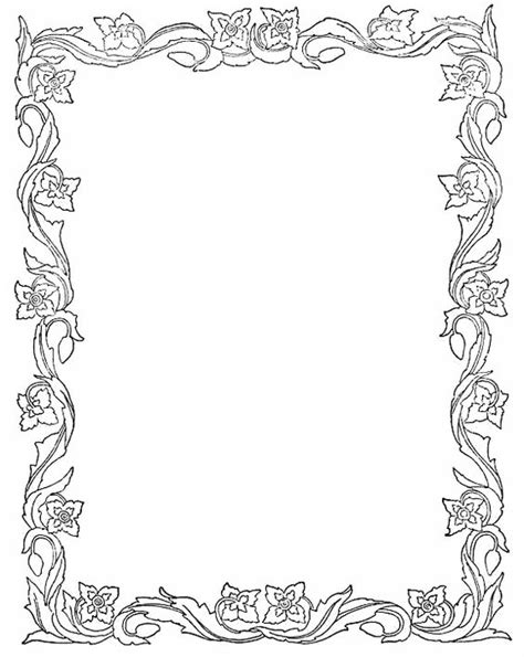 leaf border coloring pages photoshop borders templates printable spring leaves