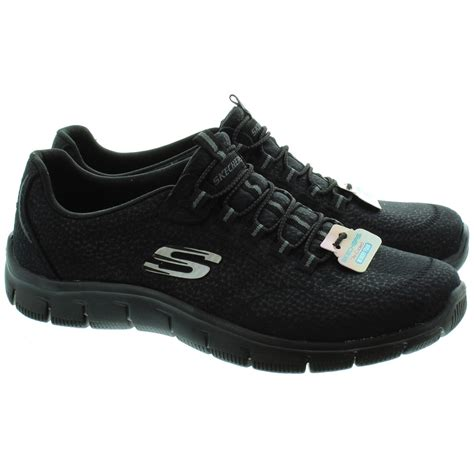 skechers black sneakers skechers 12407 empire lace shoes in black in black