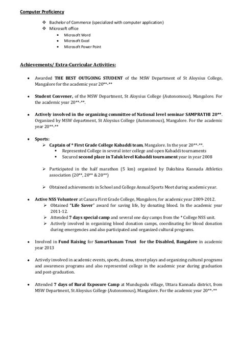 sle cv for bcom graduates fantastic sle resume for bcom graduates download