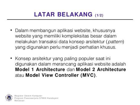 mvc pattern adalah analisis arsitektur aplikasi web menggunakan model view
