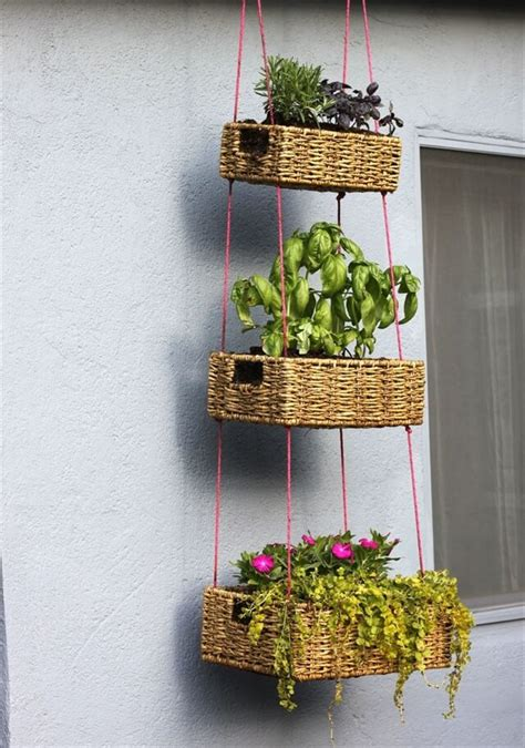 diy hanging herb garden 10 diy hanging basket vertical garden diy to make