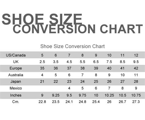 irving shoes size chart
