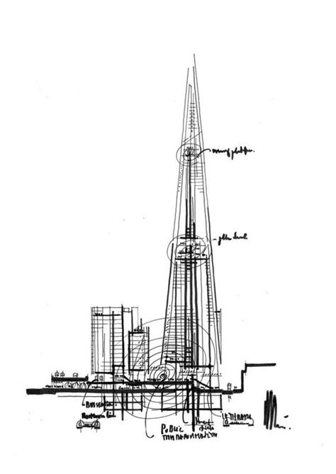 the shard section renzo piano shard london bridge 2012 sketch croquis