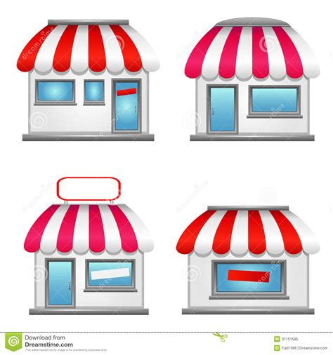 Store Awnings Prices Cute Shop Icons With Red Awnings Stock Vector Image