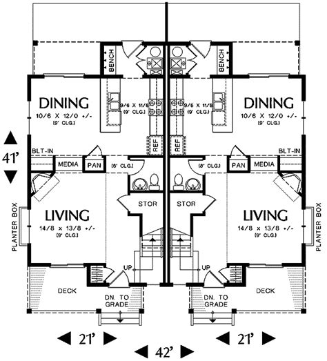 narrow lot multi family house plans narrow lot multi family home 69464am 2nd floor master suite cad available pdf