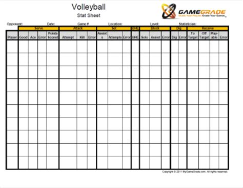 printable volleyball stats gamegrade charts