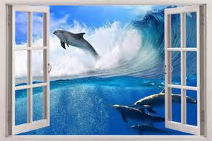 surfing dolphins 3d window view decal wall sticker art