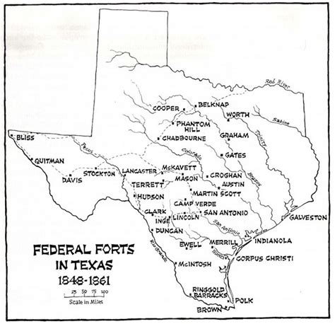texas forts map texas historical forts map texas mappery