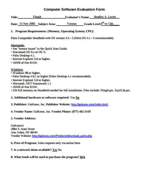 software evaluation form 8 sle software evaluation forms sle templates