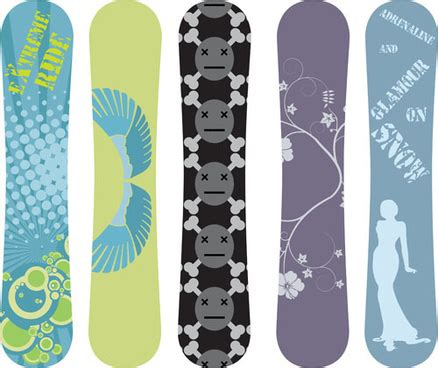modern snowboard vector template design free vector in