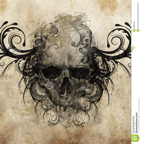 sketch of tattoo art skull with tribal flourishes stock