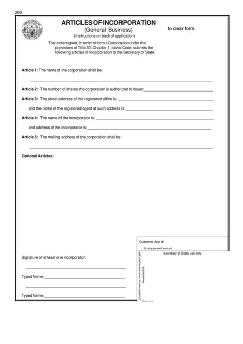 Fillable Articles Of Incorporation General Business Form Idaho Printable Pdf Download Articles Of Organization Oregon Template