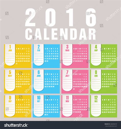 design calendar simple simple 2016 calendar 2016 calendar design stock vector