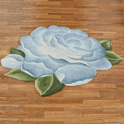 Vintage Charm Blue Rose Flower Shaped Rugs Flower Rug