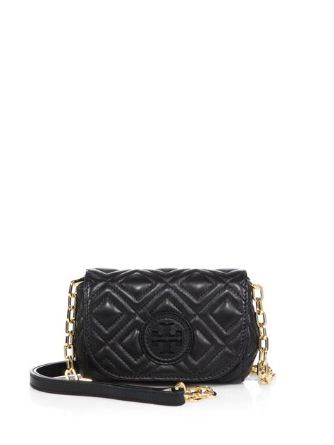 Marion Quilted Crossbody burch marion quilted crossbody bag in black lyst
