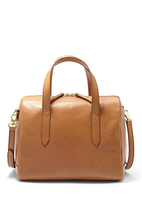 Fossil Sydney Satchel Brown Black fossil sydney satchel camel from omaha by material