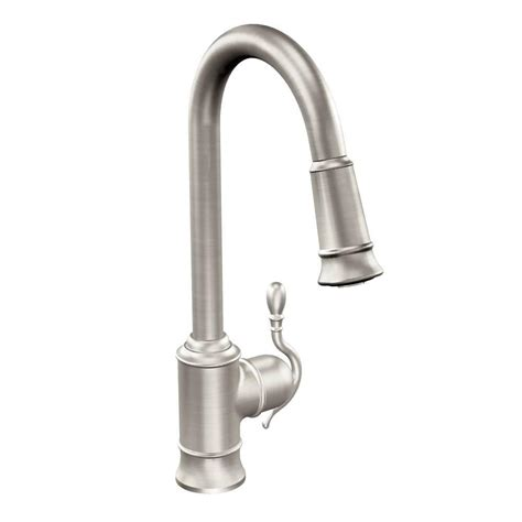 moen kitchen faucet with sprayer moen woodmere single handle pull sprayer kitchen faucet featuring reflex in spot resist