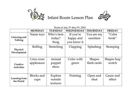 infant lesson plan template infant room lesson plan westlake childcare by linzhengnd