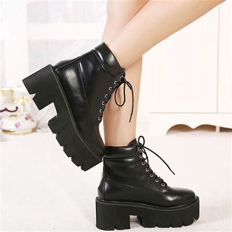 cheap winter fashion toe lace up platform chunky