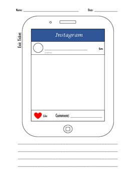 Instagram Exit Ticket By Just A Teacher From Akron Tpt Instagram Template Pdf