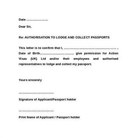 authorization letter format for collection of document sle passport authorization letter 9 free documents