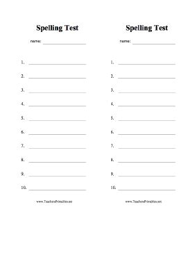 blank spelling list template two blank spelling test sheets with space for 10 answers