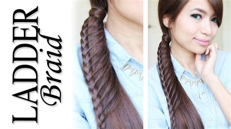 Ladder Hairstyle by Ladder Braid Ponytail Hairstyle For Medium Hair