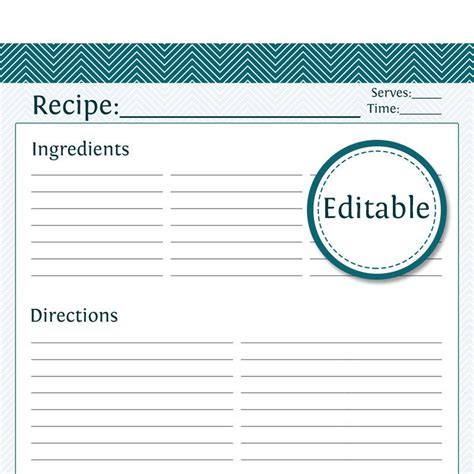 printable editable card template recipe card page fillable printable pdf instant