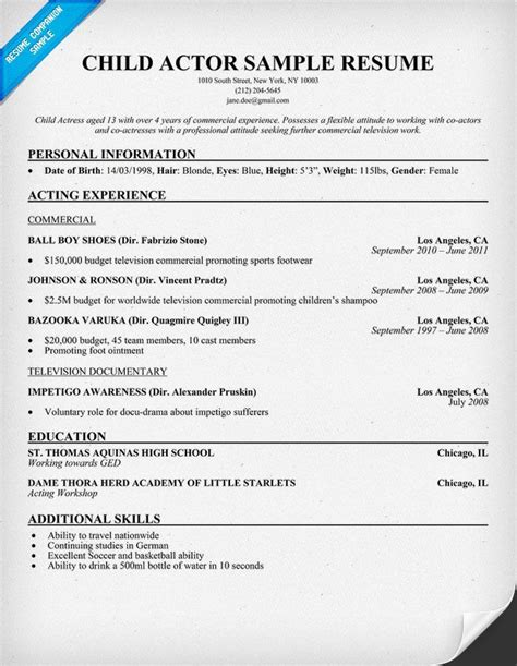 free acting resume template actors resume with no experience