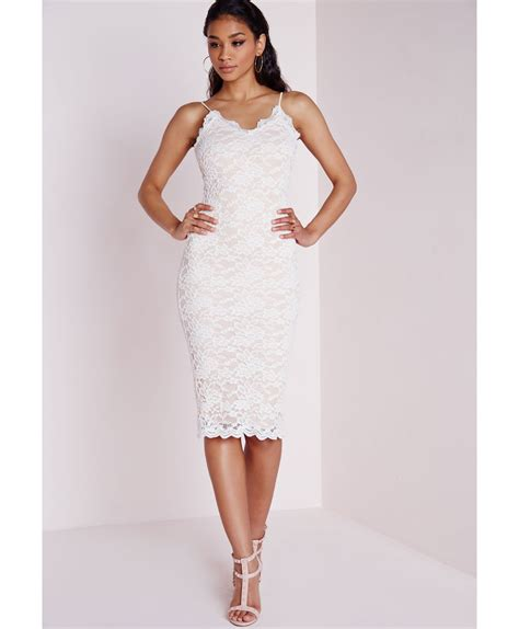 Ftnol White Lowback Dress All Size missguided white lace low back strappy midi dress in